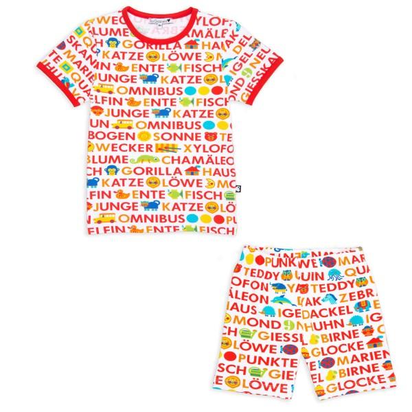 ABC Kinderschlafanzug - kurz / Rot