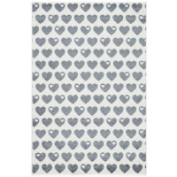 Teppich Herzen / Grau-Weiß / 120 x 180cm