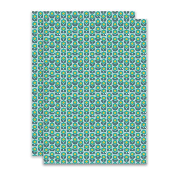 Geschenkpapier Blumen Blau