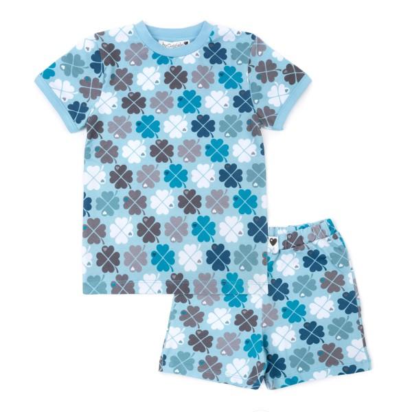 Kinderschlafanzug Kleeblatt - kurz / Blau