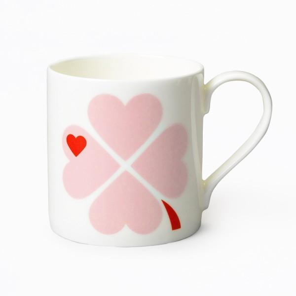 Porzellanbecher Glücksklee / Rosa