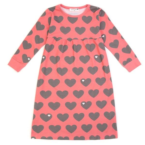 Kindernachthemd Herz / grau rosa