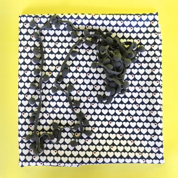 Herzen Baumwolle Kissenpaket Blau / Grau