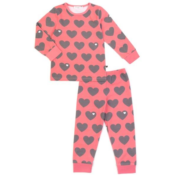 Kinderschlafanzug Herz / grau rosa