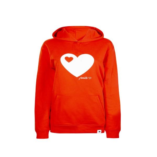 Kinder Kapuzen-Sweatshirt Rot / Herz
