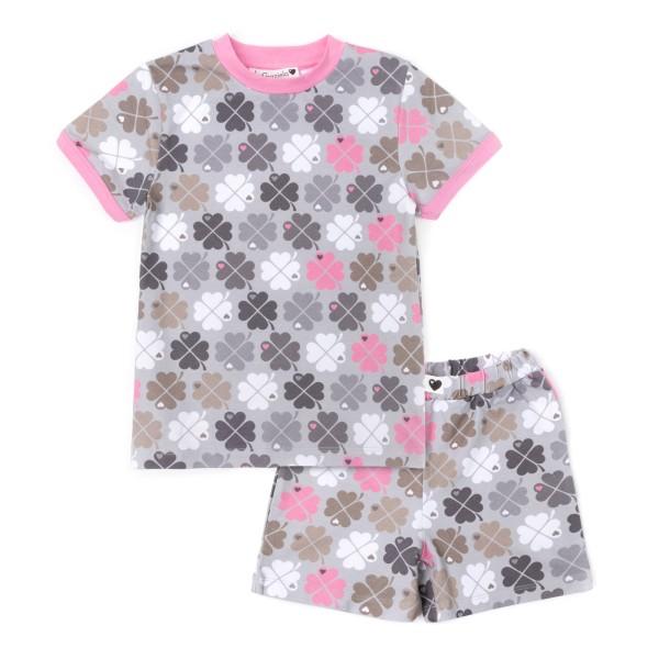 Kinderschlafanzug Kleeblatt - kurz / Rosa