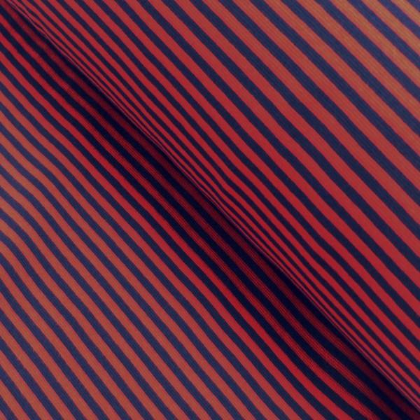 Bündchenstoff Ringel / rot-blau