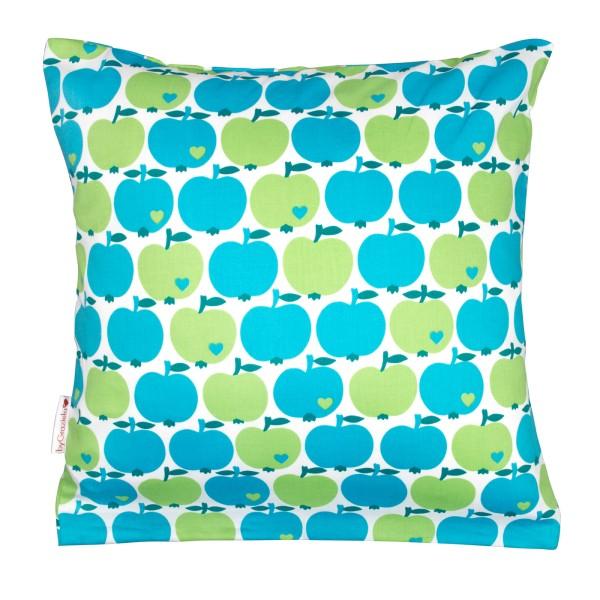 Kissenbezug Apfel / Blau 80 x 80cm
