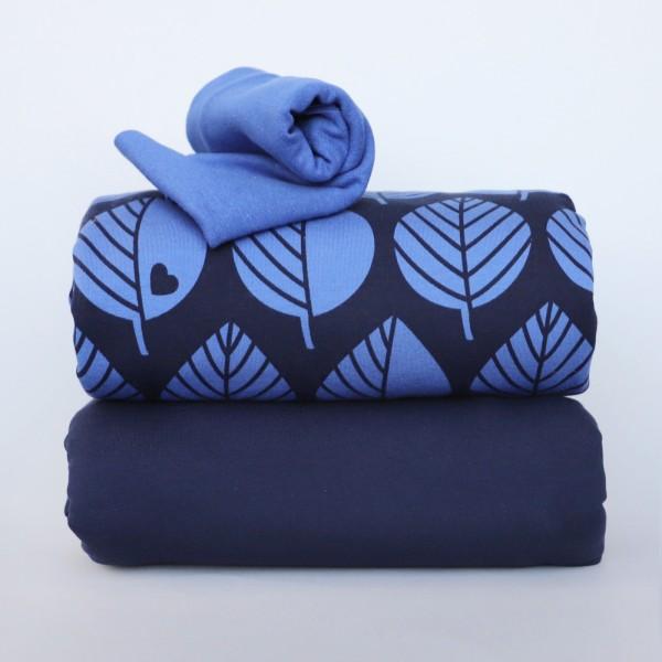 Stoffpaket XL Blätter blau