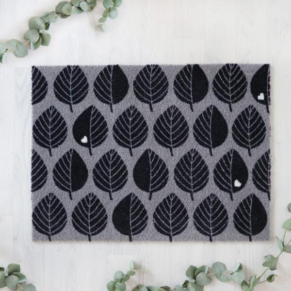 Fußmatte Blätter - Grau