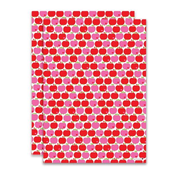 Geschenkpapier Apfel / Pink-rot