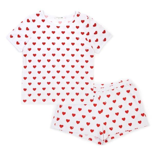Mama Schlafanzug Herzen - kurz - Rot