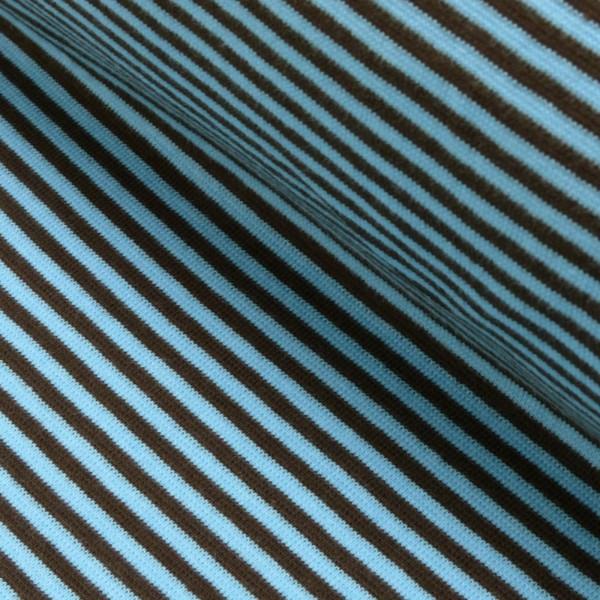 Bündchenstoff Ringel / hellblau-braun