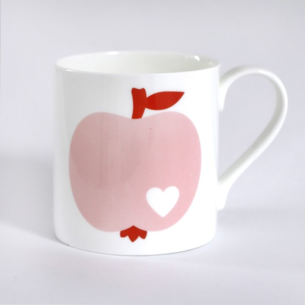 Porzellanbecher Apfel / Rosa-Rot
