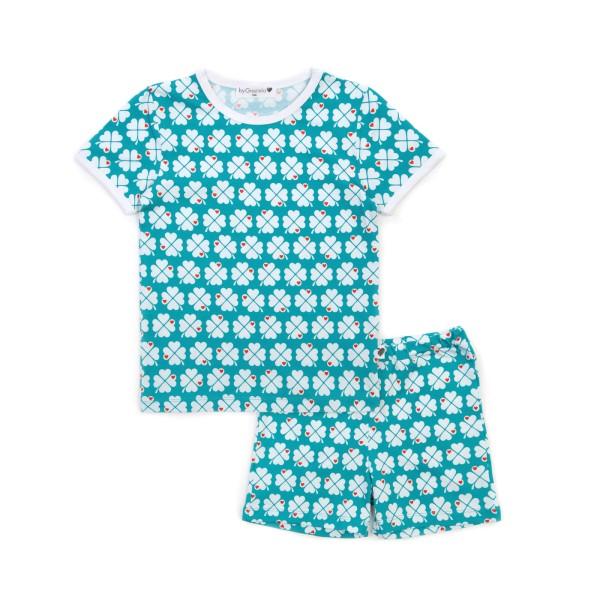 Kinderschlafanzug Kleeblatt - kurz - Türkis