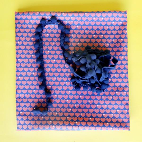 Herzen Baumwolle Kissenpacket Rosa / Dunkelblau