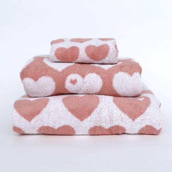 Handtuch Set Herzen - Rosa
