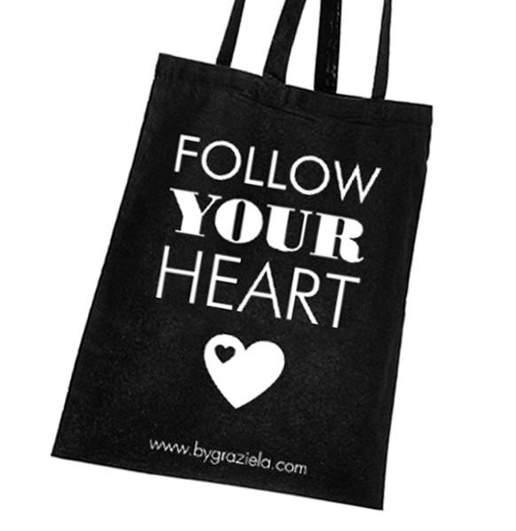 Baumwolltasche Schwarz / Follow your Heart