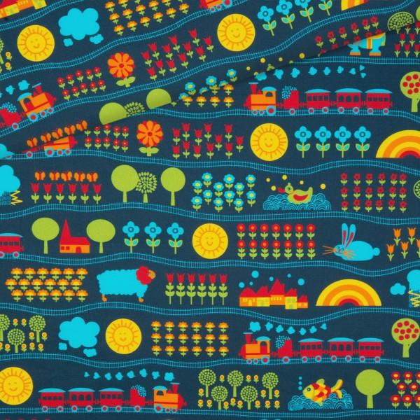 Baumwollstoff Eisenbahn - Blau