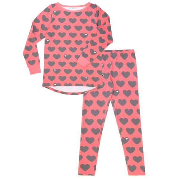 Mama Schlafanzug Herz / grau rosa