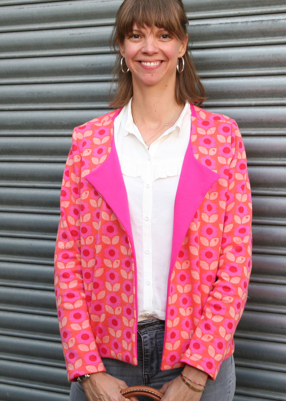 byGraziela_Sommer_Outfits_Jacquard_Jacke_Frau_Tomma_Sommersweat_Pink