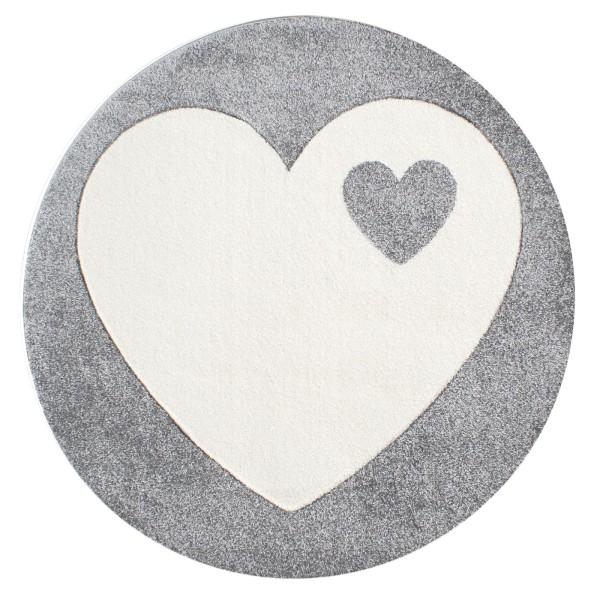Teppich Herz / Grau / Rund