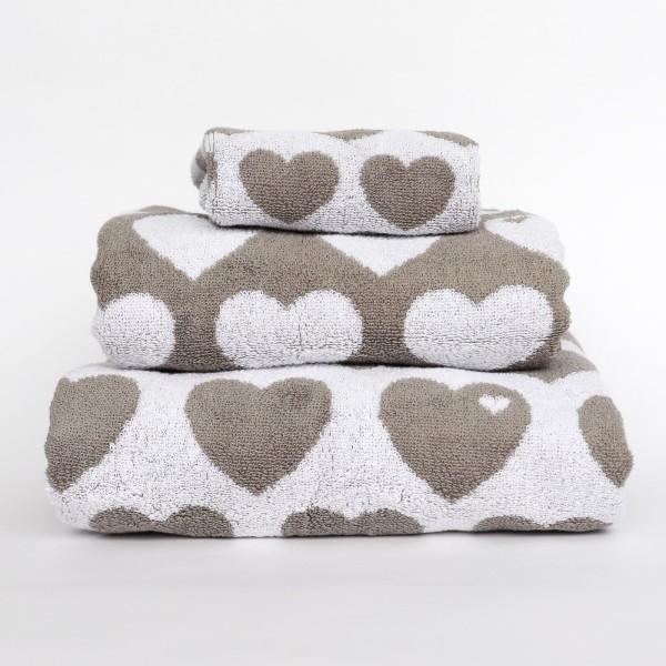 Handtuch Set Herzen - Grau