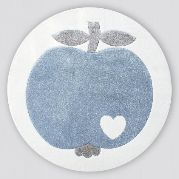 Teppich Apfel / Blau / Rund