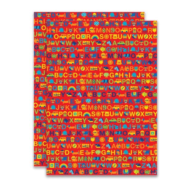 Geschenkpapier ABC / Rot