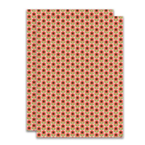 Geschenkpapier Blumen Rot