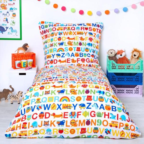 Kinderbettwäsche ABC Regenbogen