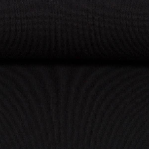 Bündchenstoff uni / Schwarz