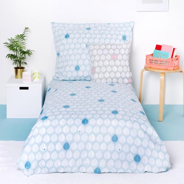 Bettwäsche Blätter / Blau