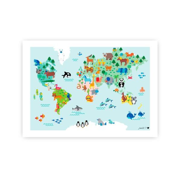 Weltkarte Poster A3