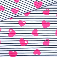 Jersey Breton Herzen / weiß-pink