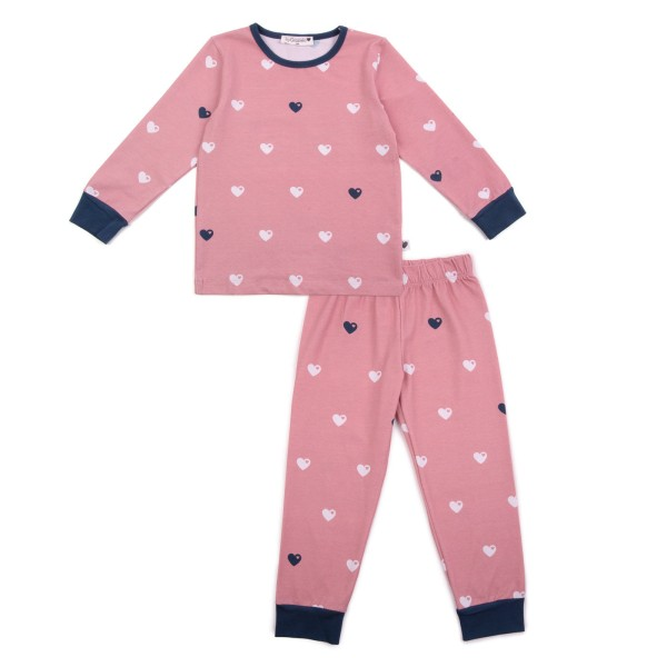 Kinderschlafanzug Herzen / Rosa