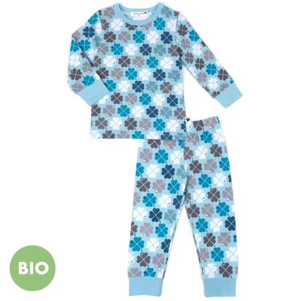 Kinderschlafanzug Kleeblatt / Blau