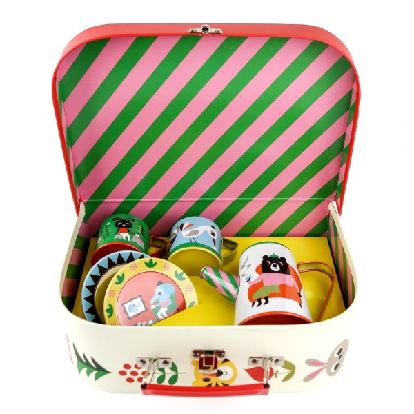 5-Teiliges Teeservice mit Koffer