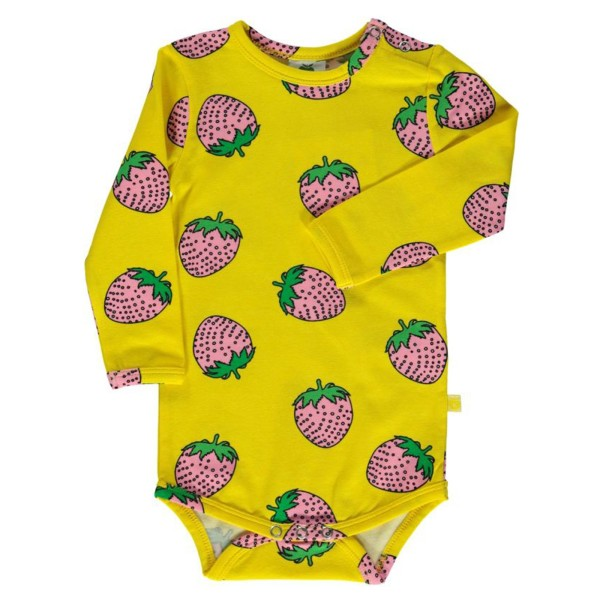 Langarm-Body / Erdbeere / Gelb