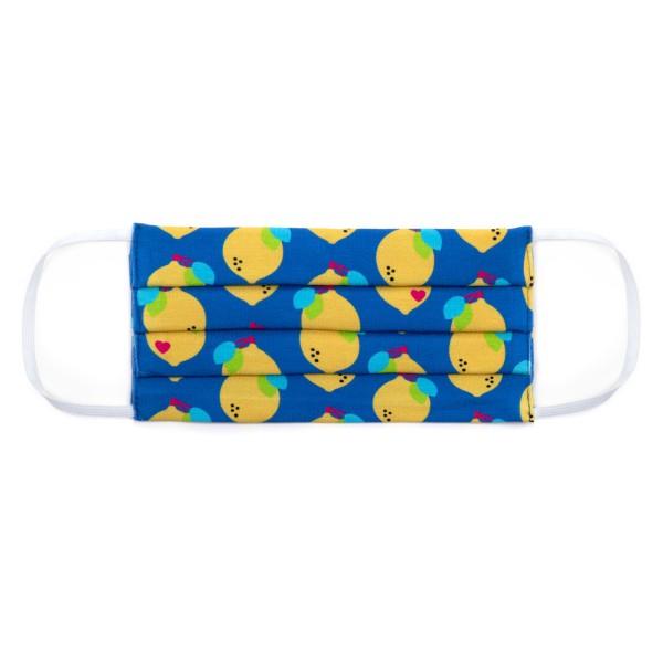 Maske Erwachsene - Zitronen Jersey gelb / blau
