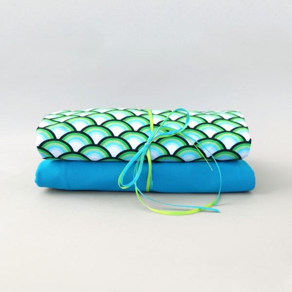 Stoffpaket / Happy Rainbow Jersey grün / uni türkis