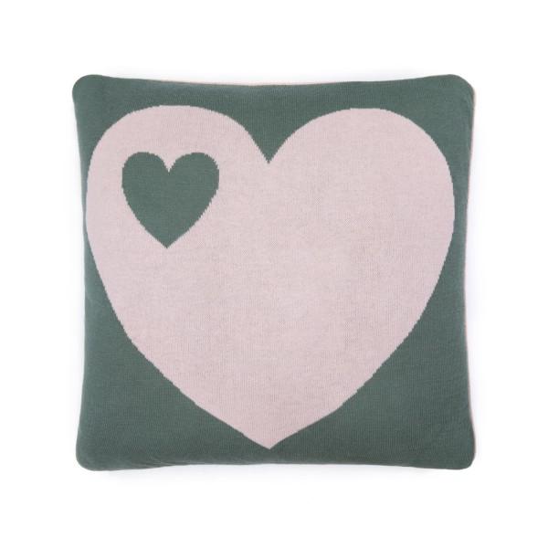 Strickkissen Herz / grün rosa