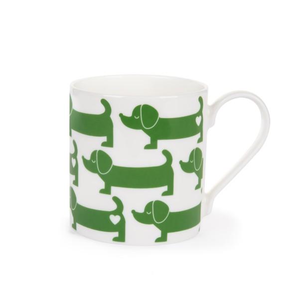 Porzellanbecher Dackel / Grün