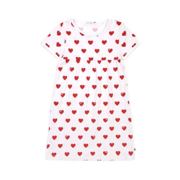 Kindernachthemd Herzen - kurz - Rot