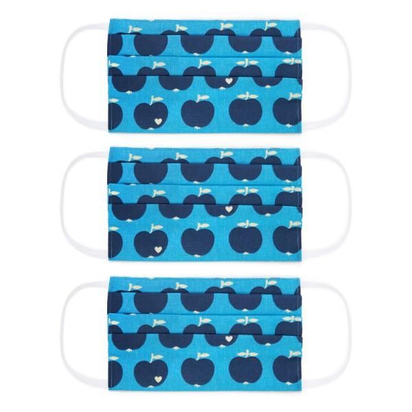 Kinder Masken 3-Set / Apfel blau
