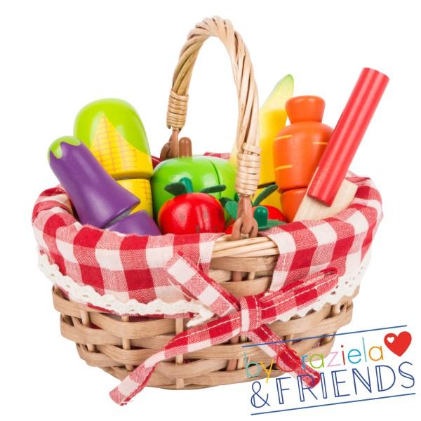 Kinderküche / Einkaufskorb mit Schneide-Lebensmitteln