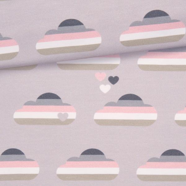 Jersey Regenbogen Wolken / Grau-Rosa