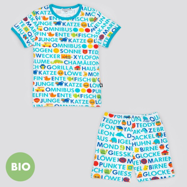 ABC Kinderschlafanzug - kurz / Blau