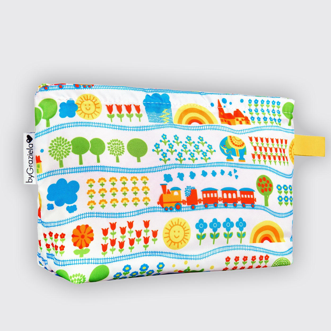 eisenbahn kulturtasche geschenke zur geburt f r kinder geschenke bygraziela. Black Bedroom Furniture Sets. Home Design Ideas