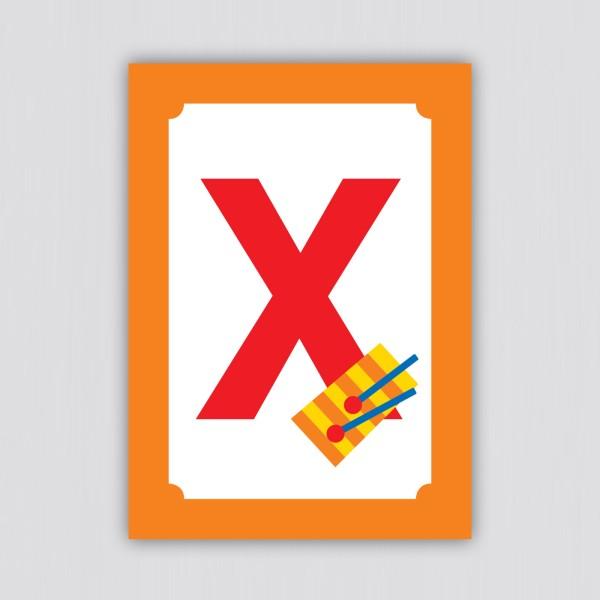 ABC Postkarte – X